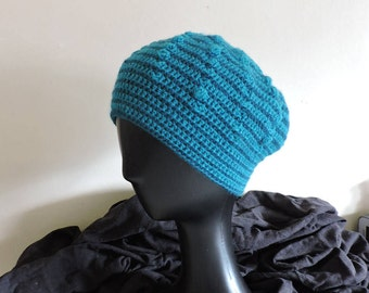 Spiral beanie with two teeth blue Merino and baby alpaca