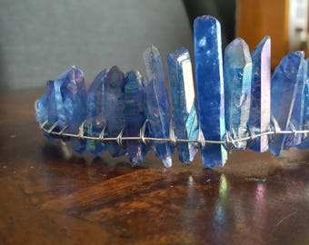 blue aura quartz crystal tiara, cosplay headpiece, something blue for bride, boho bridal headpiece, moon goddess crown, raw crystal hair