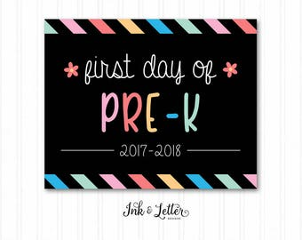 First Day of Pre-K - First Day of School Sign - Pre K - First Day of School Chalkboard - First and Last Day of School - Instant Download