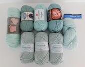 Green Acrylic & Wool Mixed Yarn Lot, Destash