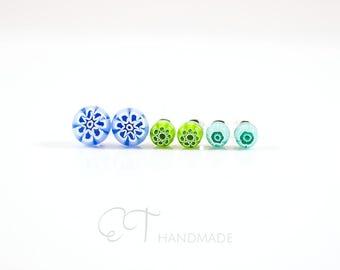 Set of 3 murano glass earrings for sensitive ears, Unique jewelry women, Flower stud earrings everyday Stud earrings tiny, Post earrings