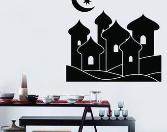 Wall Vinyl Decal Magic Aladdin's Eastern City Fairy Moon and Star Living room Decoration (#2427dn)