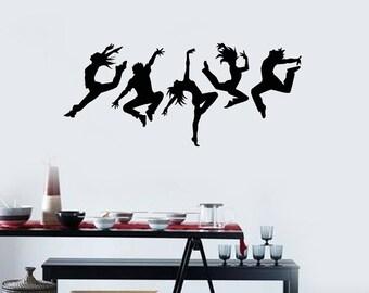 Dancers Vinyl Wall Decal Silhouette Dancing People Dance Art Stickers Mural (#2567di)