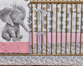 CUSTOM BEDDING -  elephant in crown, floral elephant, linen, pink bedding, pink and white, gray elephant, baby girl