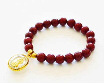 Buddha Charm and Jade Bracelet, Gold and Rhinestone Round Buddha Charm Stretch Bracelet with Blood Red Jade Faceted Beads, Boho Chic