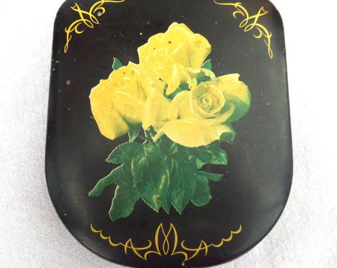 "FREE SHIPPING Bon Bon or Sweet Tin, Black Yellow Rose, Hinged Tin, Edward Sharp & Sons Ltd, Maidstone, Kent, 1854-1931, 4.5"" x 4"" x 0.75"""
