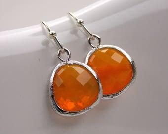 Orange Earrings, Orange Bridesmaid Earrings, Silver Orange Wedding Jewelry, Bridesmaid Jewelry, Bridesmaid Gifts, Carnelian, Orange Wedding