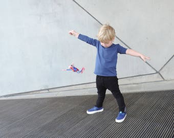 Kids Long Sleeve T-shirt | Blue Tshirt | Toddler Tshirt | Baby Tshirt | Boys Tees | Unisex Kids | Hipster Kids Clothes - By PetitWild