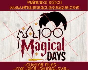 SVG cutting file, 100 days svg, 100 magical days svg, 100 magical days design, instant download, png svg studio dxf, harry potter svg design
