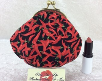 Red Hot Chillis Amy frame coin purse wallet hand stitched handmade in England