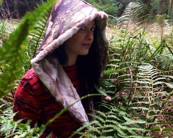 Waterproof forest camouflage hood/  Faux fur and canvas hood/ waterproof/ waterproofs/ forest pattern/ leaf print/ camouflage