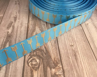 Arrow ribbon - Blue and gold ribbon - Boho arrows - Metalic foil ribbon - Coachella ribbon - Bohemian ribbon - Trendy ribbon - 3 or 5 yards
