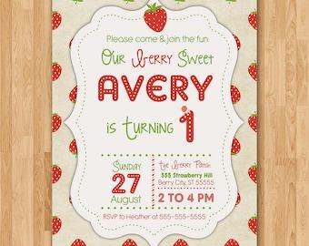 Strawberry Invitation - Strawberry Birthday Party - Summer Invitation - Strawberries - First Birthday Invite - 1st Bday - Any Age Printable