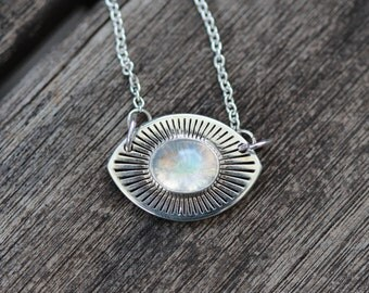 ECHOES, Collar length rainbow moonstone necklace