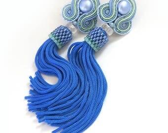Soutache earrings Oscar de la renta earrings clip on tassel earrings Oscar style renta earrings tassel earrings sky blue earrings soutache