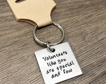 Volunteer gift / Thank you Volunteer gift / Special volunteer helper / Teacher helper / Room Mom / Appreciation / Hand stamped keychain gift