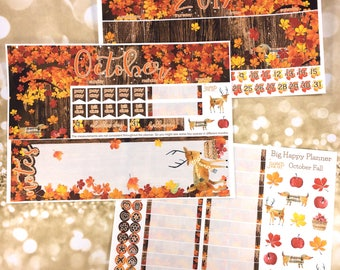 October Fall monthly view spread - for BIG HAPPY PLANNER mambi sticker - Rustic woodland autumn