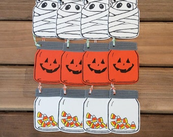 Halloween Treat Tags/ Mason Jar Gift Tags/ Party Favor Tags/ Halloween Party Supplies
