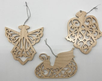 Filigree Angel and Sleigh Ornament Set - Maple