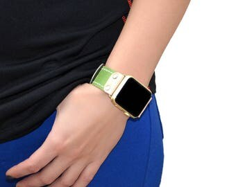 Green Genuine leather apple watch band 38mm / 42mm // apple watch strap accessories - lugs adapter - iwatch band gold - iwatch strap