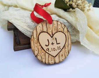 Couples ornament, couples gift, anniversary gift, anniversary ornament, christmas gift, boyfriend gift, wood ornament, personalized ornamemt