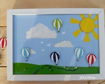 Children's Reward Charts. Magnetic. Hot Air Balloons Design. Hand painted.