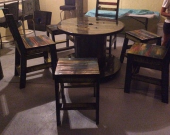 Wire Spool Table with Chairs