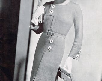 1930s Knitting Pattern - Women's Dress with Accent Buttons  - Downloadable PDF - 30s retro