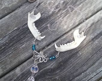 Raccoon Jaw Bone Necklace,Blue Octopus Owl Necklace, Real Animal Bone Jewelry, Wiccan Necklace, Gypsy Jewelry, Pagan Occult, Witch goth punk