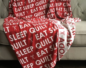 Eat, Sleep, Quilt, Moda Throw Red and White