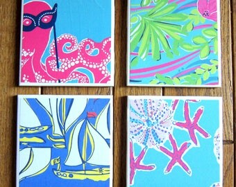 Summer Coaster Set | Lilly Pulitzer | Assorted Coasters | Beach | Drink