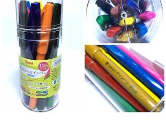 Sale Set: 12 Colors Pentel Fude Touch Sign Pens Original Case