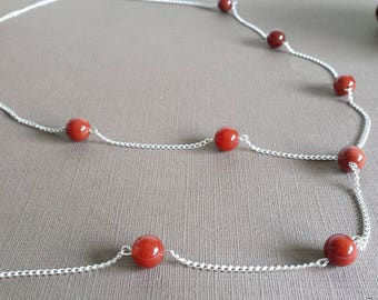 Long gemstone red carnelian silver chain necklace casual jewelry