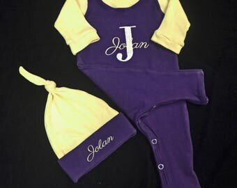 Personalized, Custom Made Baby Outfit, Gender Neutral-Upscale Baby Outfit, Going Home Outfit Baby-Baby Shower Gift-Coming Home Outfit