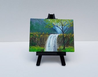 Valley Falls Miniature Oil Painting with Easel