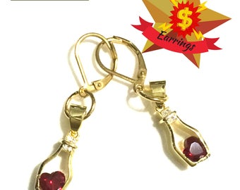Capricorn Birthstone Earrings, Red Wine bottle Earrings, Birthday Gift, Gold Garnet Drop Earring Gift, Unique Birthday Gift,Unique Xmas gift