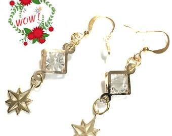 Gold Star Dangle Earrings, Long Cubic zirconia Earrings, Special Girlfriend Gift, On Trend Glamorous Earrings, Classy Earrings