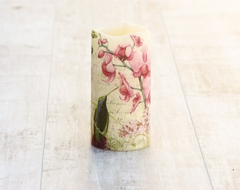 Orchid Flower Print Pillar Candle, Pink Orchid Home Decor, Orchid Print LED Candle, Nature Lovers Gift, Mothers Day Gift For Mom