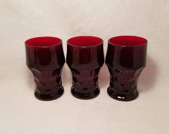 RED ROYAL RUBY Tumblers set of 3 Honeycomb Thumbprint Drinking Glasses Anchor Hocking Vintage