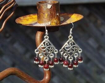 Garnet Earrings ~ Chandelier Earrings ~ Bohemian Red ~ Diamond Shape ~ Elegant Style ~ Gift for Mother In Law ~ Stone Jewellery ~ Meditation