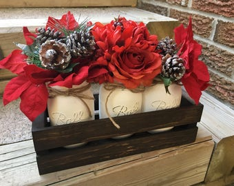 Christmas Centerpiece. Wooden Planter. Mason Jars. Table Centerpiece. Christmas Decor. Holiday Decor. Red White and Green Mason Jars.