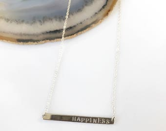 Custom Bar Necklace, Happiness Bar Necklace, Name Necklace, Bar Necklace, Monogram Necklace