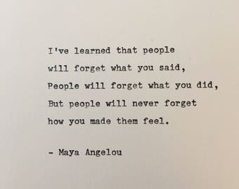 Maya Angelou quote hand typed on antique typewriter