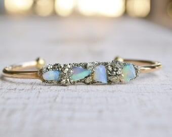 Opal Jewelry - Opal Bracelet, October Birthstone, Raw Opal Cuff Bracelet, Birthstone Gift, Birthday Gift for October, Australian Opal