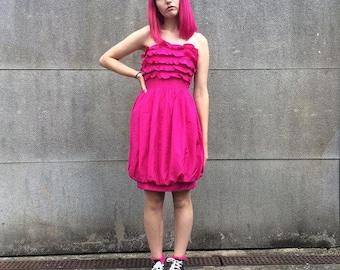 Vintage 80s 90s Hot Pink Strapless Satin Ruffle Bubble Hem Dress 8