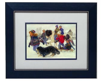 CELEBRATION Art Print by Robert Duncan, Framed/Unframed, Snow Winter Scene, Christmas Art, Family Dog Girl Pulls Sleigh, Sled, Country Art