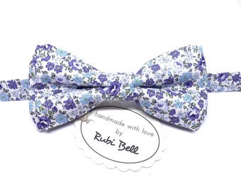 Bow Tie - floral bow tie - wedding bow tie - white bow tie with blue flowers - man bow tie - men bow tie