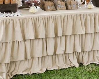 Ruffled Burlap Tablecloths Table Decor French Country Prairie Burlap Table Cloth Ruffled Tablecloth Wedding Decoration