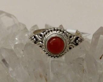 Dainty Carnelian Ring Size 7 1/2
