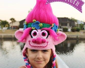 Trolls Movie Poppy Crochet Hat PATTERN, PDF Crochet Pattern, Trolls Crochet Pattern, Trolls Hat Crochet Pattern, Princess Poppy Crochet